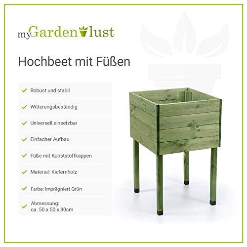myGardenlust Hochbeet aus Holz – Kräuterbeet für Garten Terrasse Balkon –  Pflanzkasten Grün imprägniert - 2