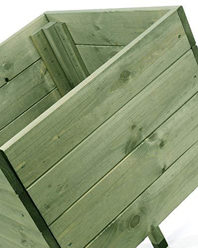 myGardenlust Hochbeet aus Holz - Kräuterbeet für Garten Terrasse Balkon - Pflanzkübel als Gemüse Beet - Pflanzkasten Groß Outdoor mit Fußkappen aus Kunststoff Grün imprägniert | 50x50 cm - 4