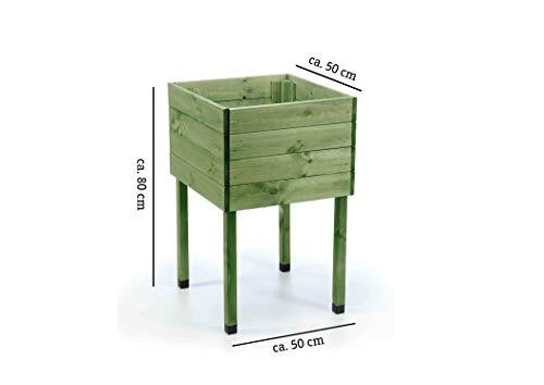 myGardenlust Hochbeet aus Holz - Kräuterbeet für Garten Terrasse Balkon - Pflanzkübel als Gemüse Beet - Pflanzkasten Groß Outdoor mit Fußkappen aus Kunststoff Grün imprägniert | 50x50 cm - 5