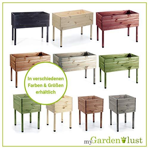 myGardenlust Hochbeet aus Holz – Kräuterbeet für Garten Terrasse Balkon –  Pflanzkasten Grün imprägniert - 6