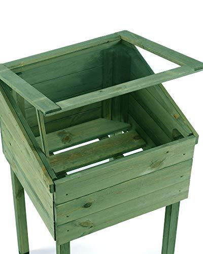myGardenlust Frühbeet Pflanzkasten – Hochbeet aus Holz – Kräuterbeet für Garten Terrasse Balkon Pflanztisch Grün imprägniert - 4