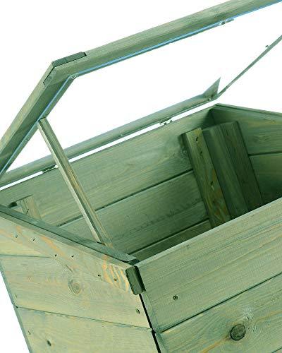 myGardenlust Frühbeet Pflanzkasten – Hochbeet aus Holz – Kräuterbeet für Garten Terrasse Balkon Pflanztisch Grün imprägniert - 5