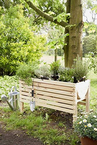 myGardenlust Hochbeet aus Holz - Kräuterbeet für Garten Terrasse Balkon - Pflanzkübel als Gemüse Beet - Pflanzkasten Groß Outdoor mit Fußkappen aus Kunststoff Bordeaux | 100x50 cm - 2