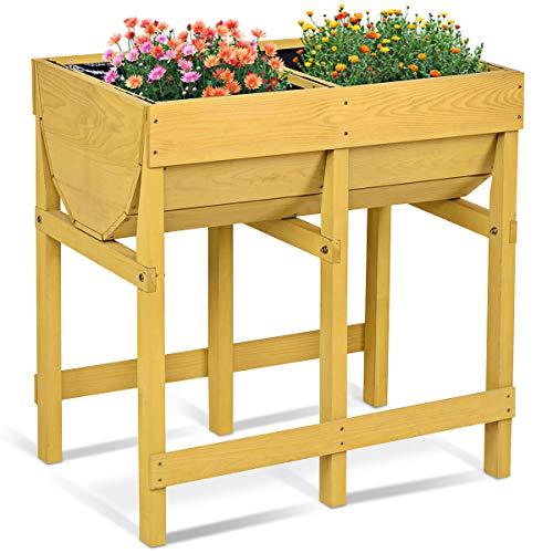 Costway Hochbeet Holz, Blumenbeet, Blumenkasten Garten, Pflanzkasten Gelb